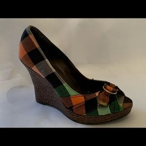 Charlotte Russe Plaid Wedge Heels
